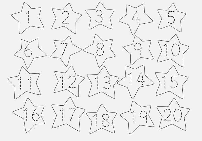 Trace Number 1 20 Worksheet Fun – Learning Printable