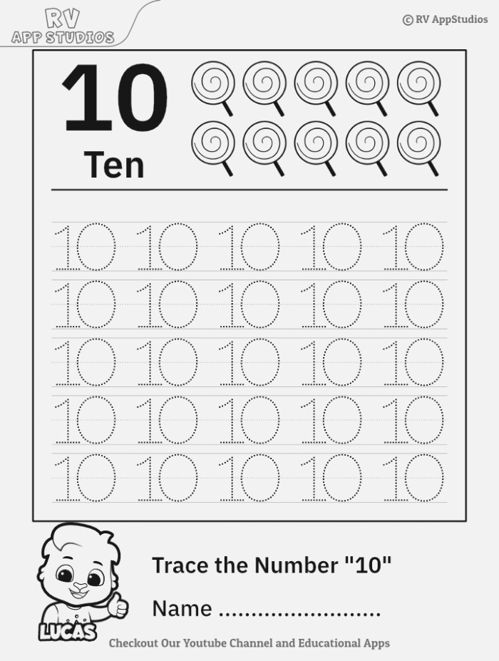 Trace Number 10 Worksheet for Free for Kids
