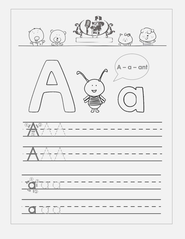 Trace the Letter A Worksheets