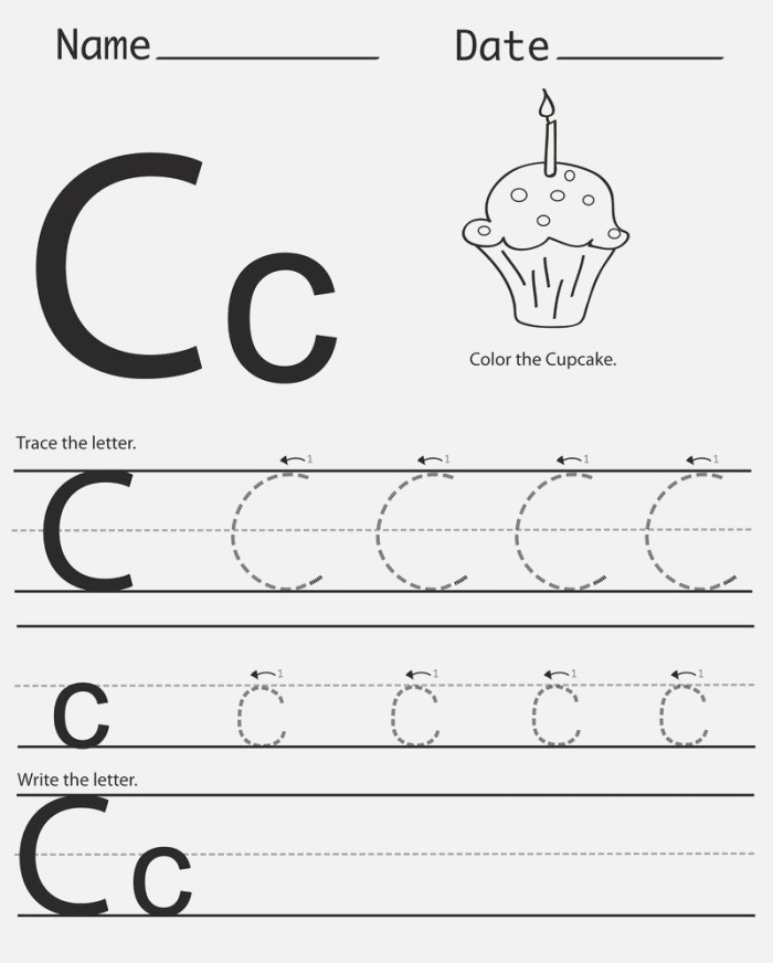 Trace the Letter C Cupcake Printable Coloring Pages for Kids