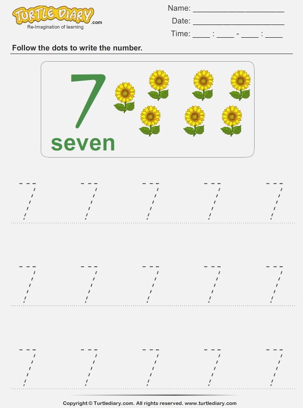 Trace the Number Seven Worksheet Turtle Diary