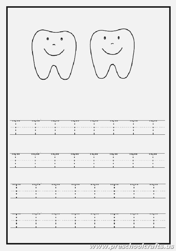 Trace the Uppercase Letter T Worksheet tooth Coloring