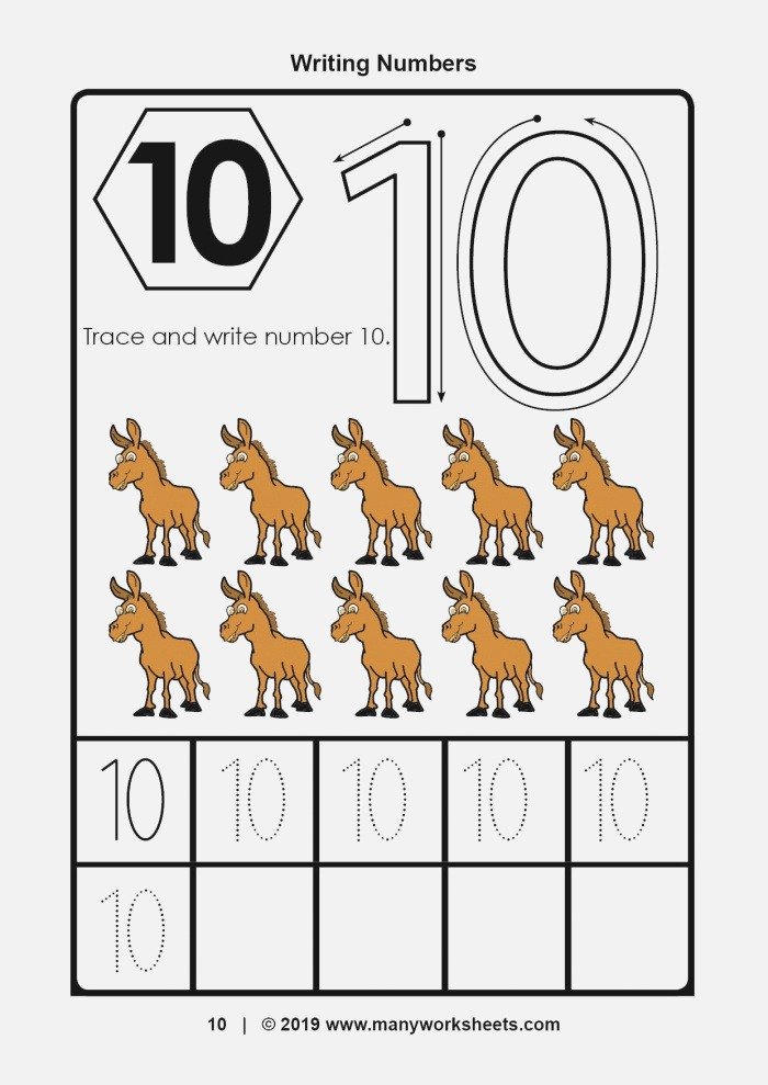 Tracing and Writing Number 10 Worksheet