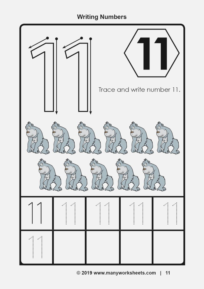 Tracing and Writing Number 11 Worksheet