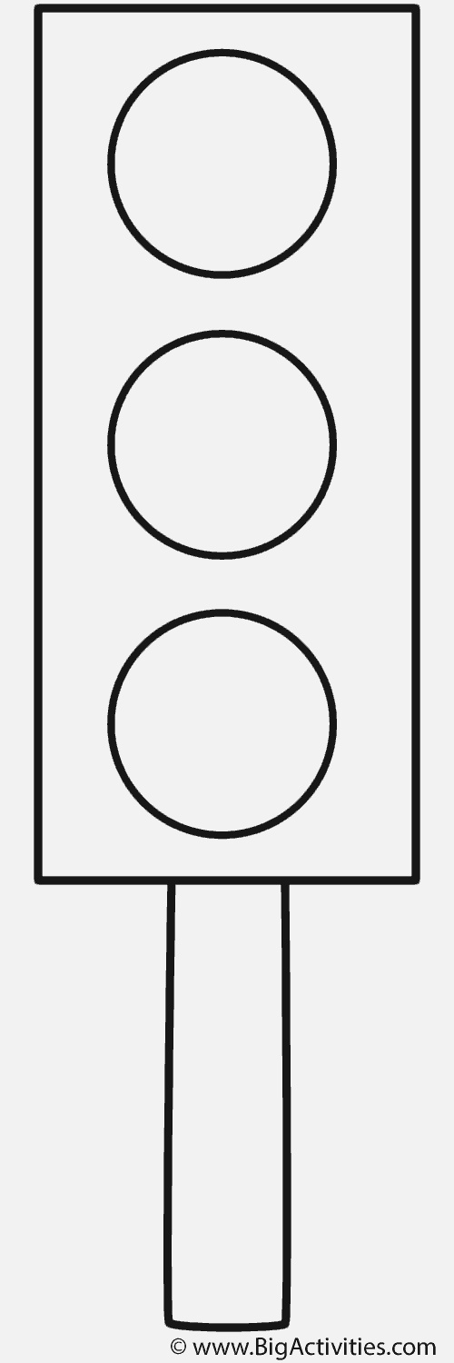 Traffic Light On Post Coloring Page Safety