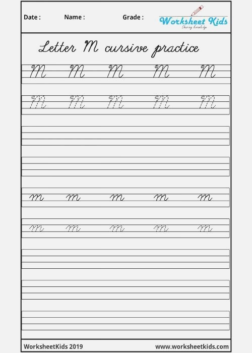Uppercase and Lowercase Letter M Cursive Handwriting