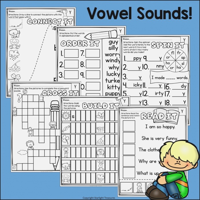 Vowel sounds Of Y Worksheets and Activities for Early