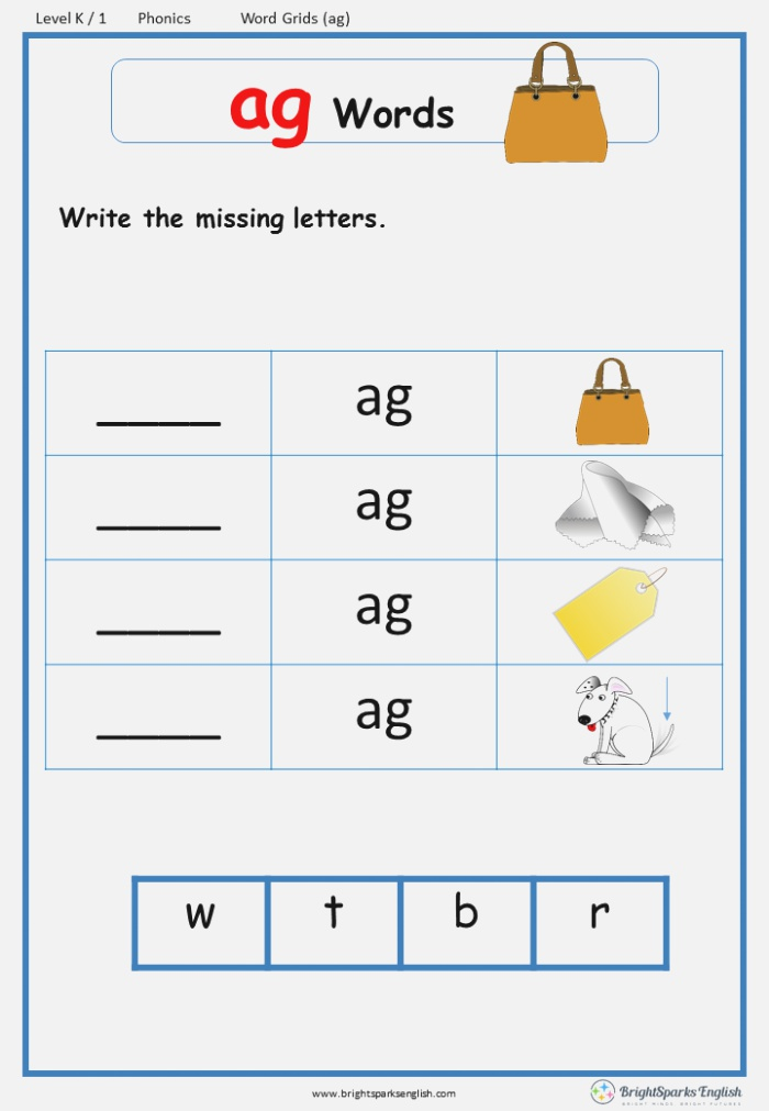 Word Family Ag Word Grids English Phonics Worksheet