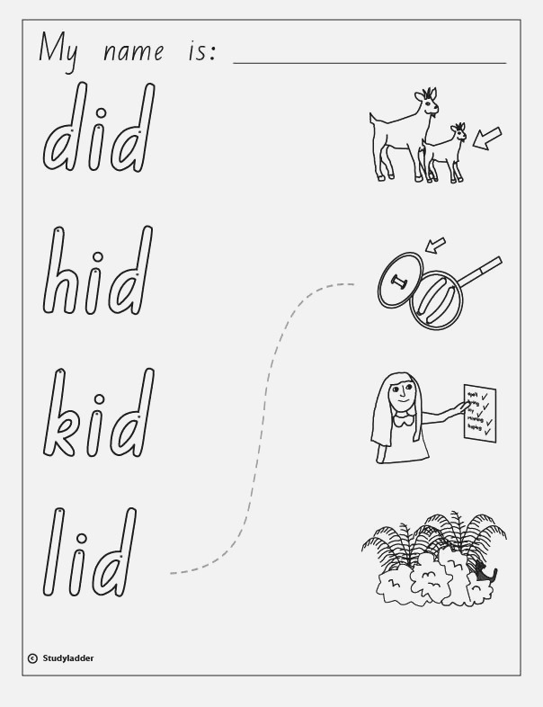 Words and Did Kid Lid Hid Studyladder