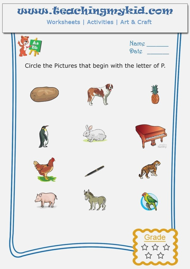 Worksheet for Kids Circle the Pictures that Begin with