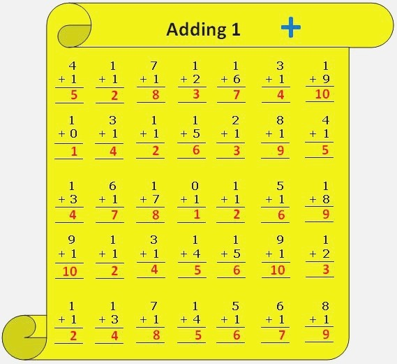 Worksheet On Adding 1 Practice Numerous Questions