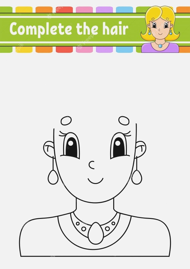 Worksheet Plete the Picture Draw Hair Cheerful