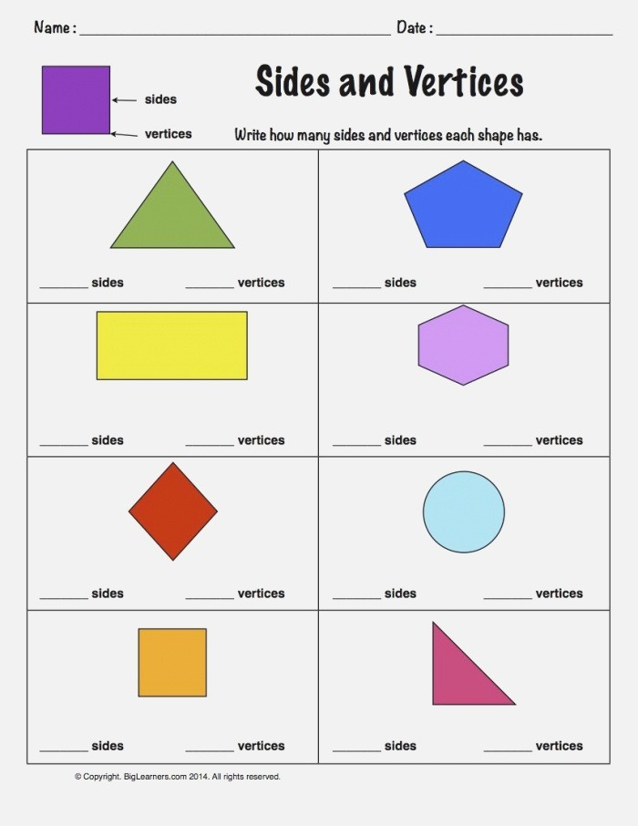 Worksheet Sides and Vertices