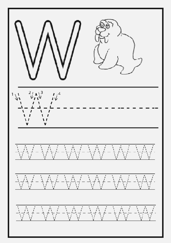 Writing Practice Big Letter W Uppercase Letter W