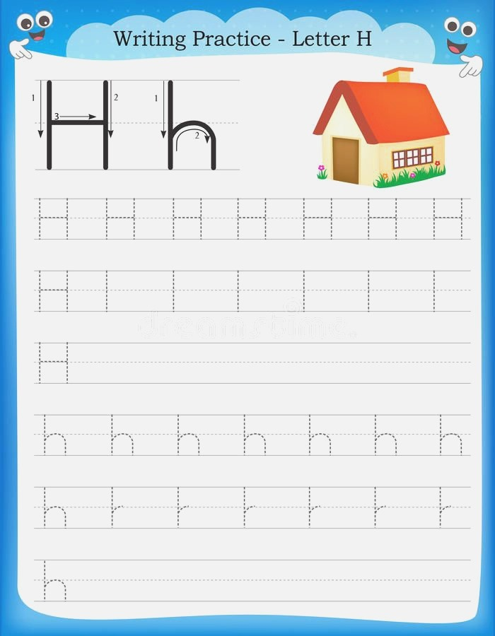 Writing Practice Letter H Royalty Free Illustration