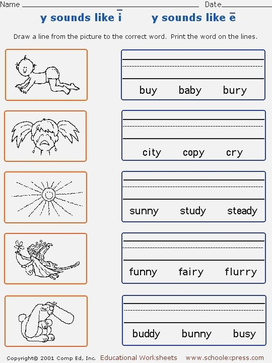 Y sounds Like Long I and Long E Worksheet for 1st 2nd