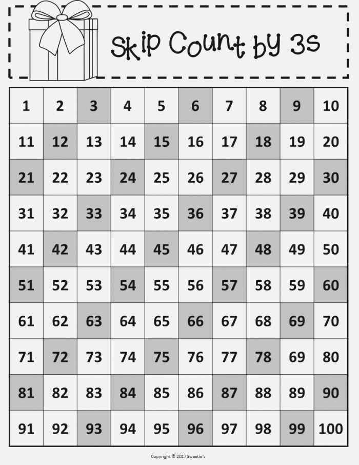 100 Charts with Skip Counting Christmas From Sweetie S