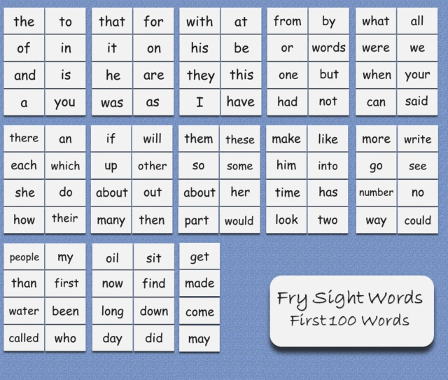 100 Fry First One Hundred Sight Words Flash Cards On A