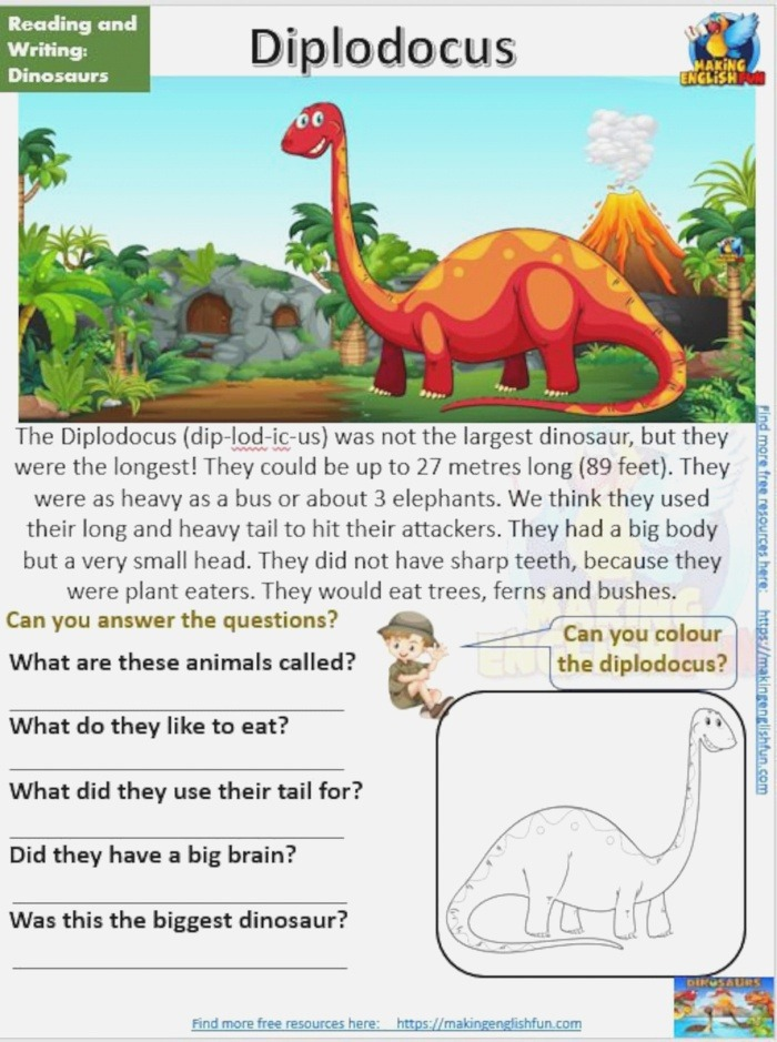12 Dinosaur Reading Prehension Worksheets and Cards