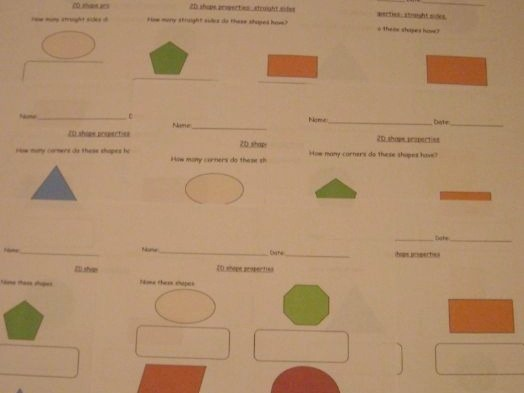 2d Shapes and Properties Naming Number Of Corners Sides