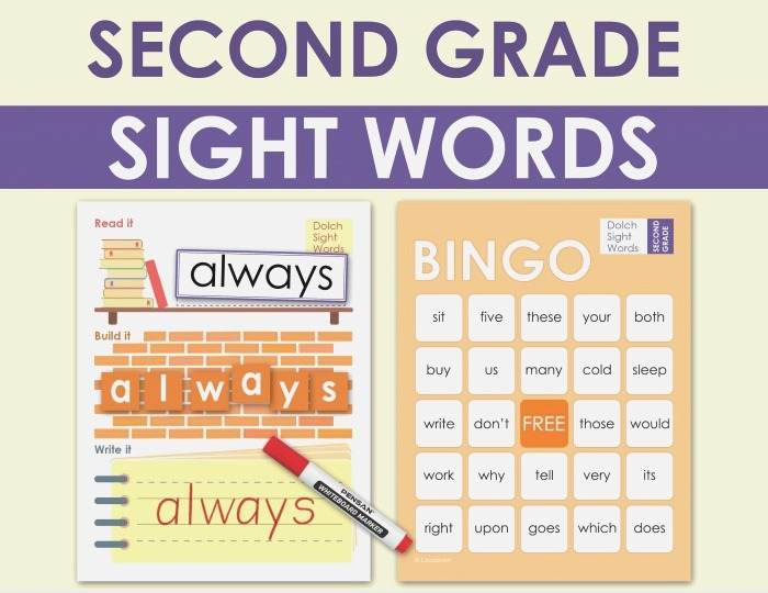 2nd Grade Dolch Sight Words Literacy Practice Worksheets