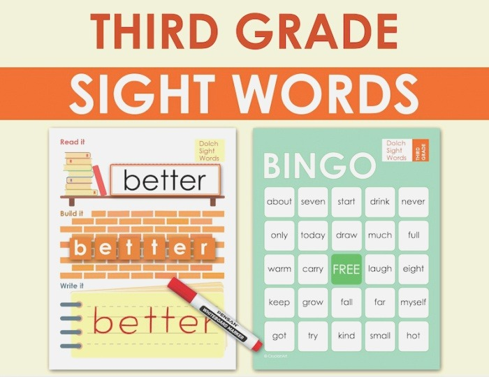 3rd Grade Dolch Sight Words Practice Literacy Worksheets