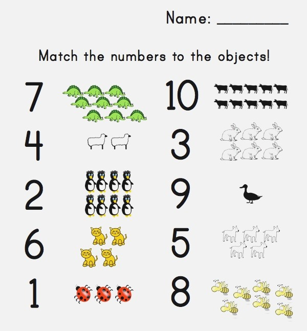 6 Best Of Printable Matching Numbers to Sets