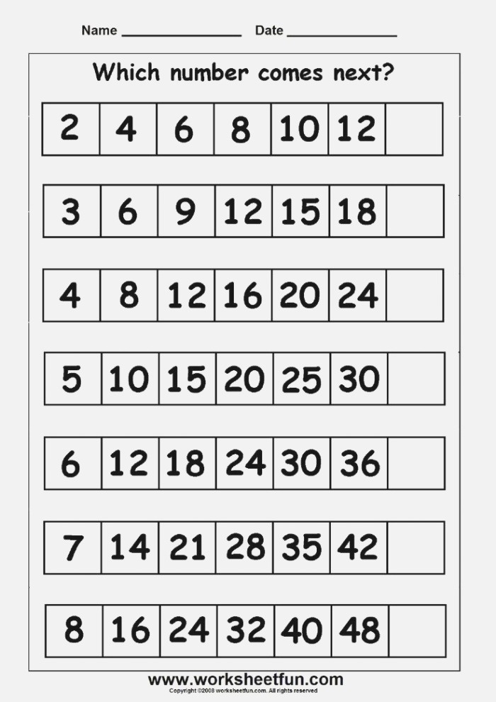 What Number Comes Next Worksheets
