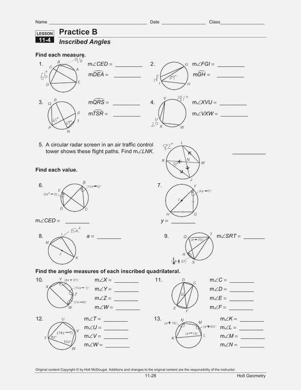8 Best Of Arc Geometry Circle Worksheets and