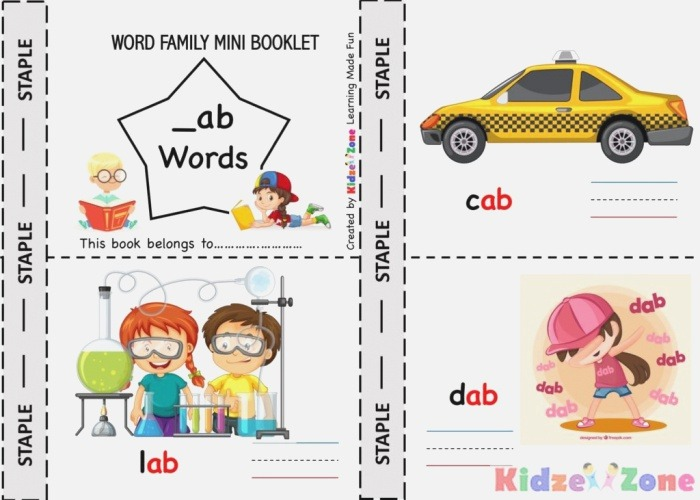Ab Word Family E Stop for Reading Writing and