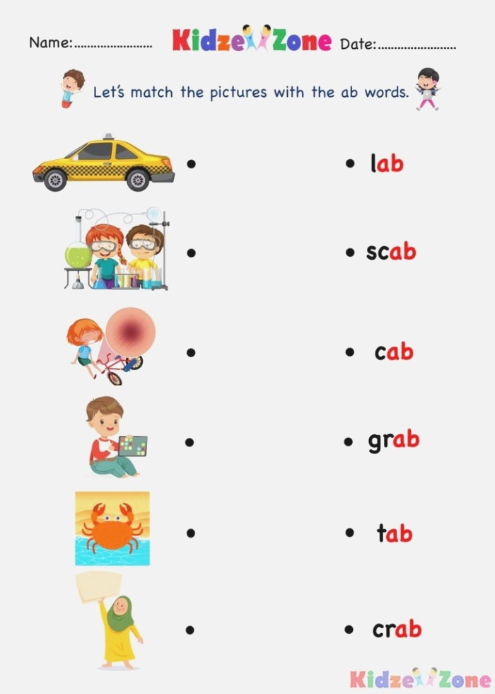 Ab Word Family Find and Match Kindergarten Activity