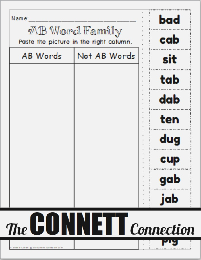 Ab Word Family Worksheets In 2020