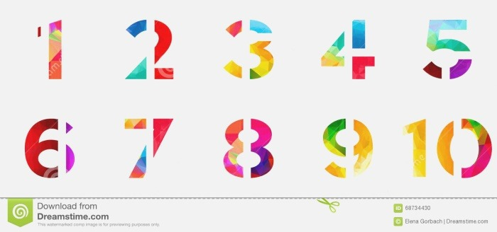 Abstract Bright Rainbow Polygon Number Alphabet Colorful