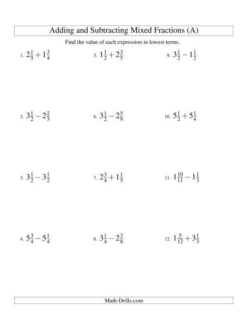 Adding And Subtracting Mixed Fractions A