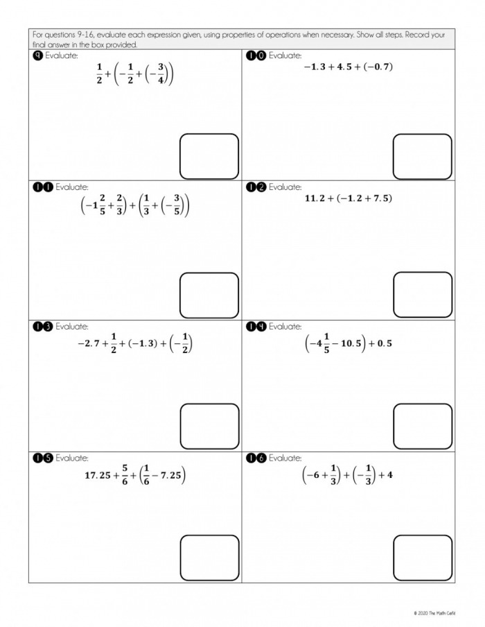 Adding And Subtracting Rational Numbers Using Properties Worksheet