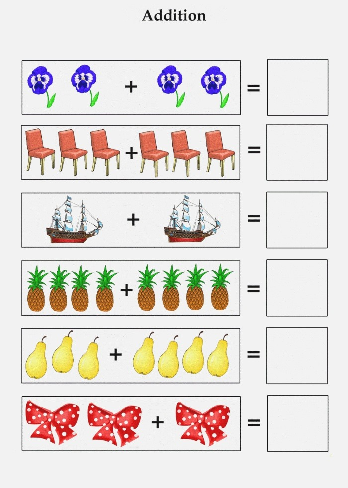 Addition Worksheets with Up to 10