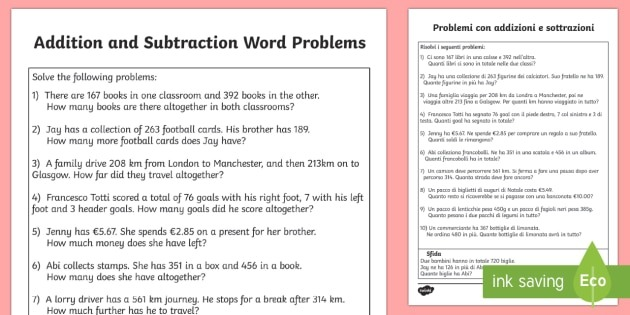 Addition And Subtraction Word Problems Worksheet  Worksheet