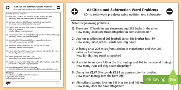 Addition And Subtraction Word Problems Year