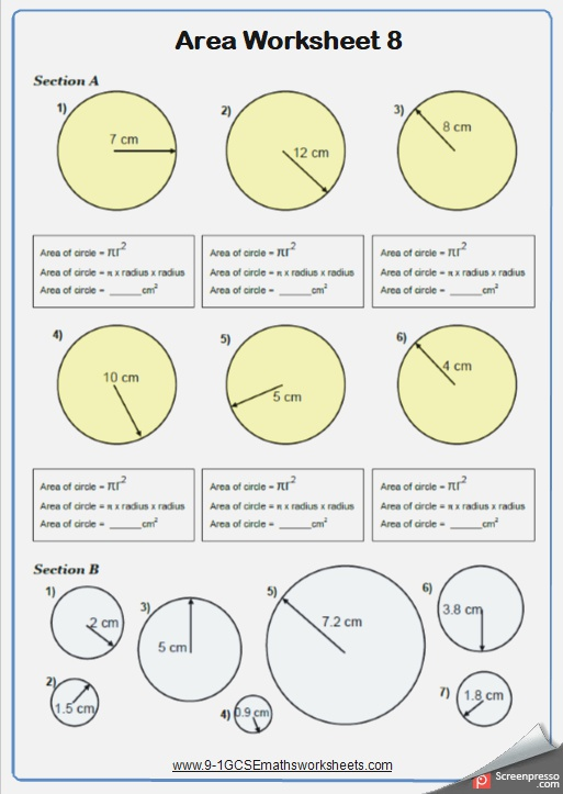 area Of Circles Maths Worksheet and Answers 9 1 Gcse
