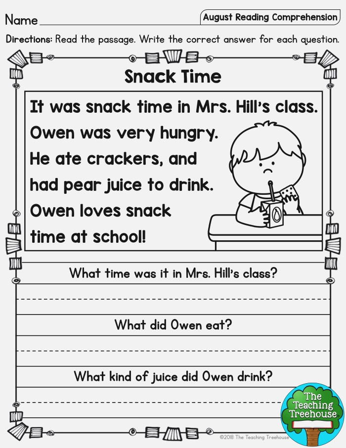 August Reading Prehension Passages for Kindergarten and