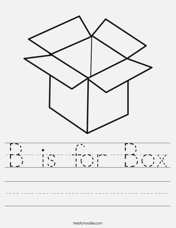 B is for Box Worksheet Twisty Noodle