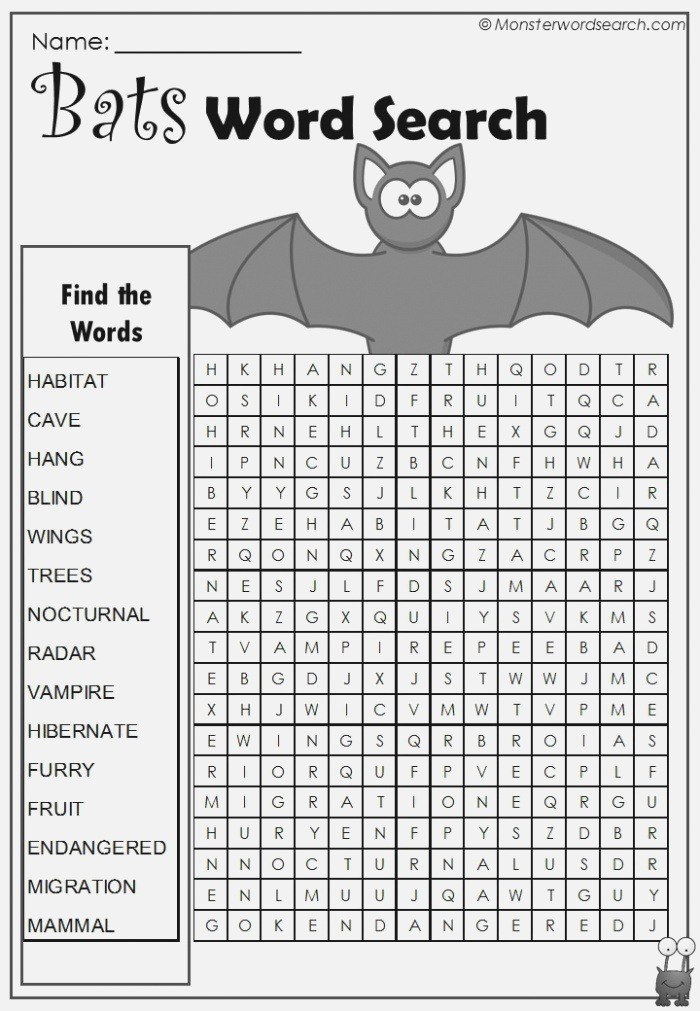 Bats Word Search Monster Word Search