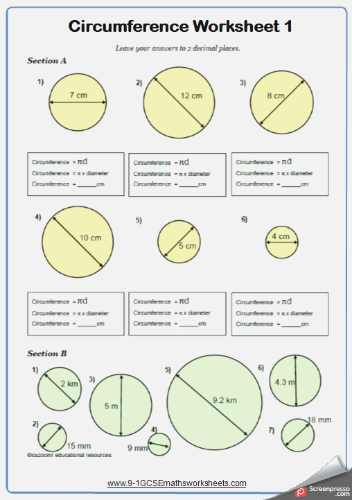 Circumference Maths Worksheet and Answers 9 1 Gcse Higher