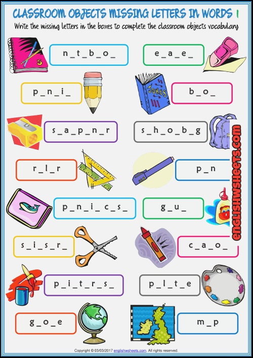 Classroom Objects Missing Letters In Words Exercise Worksheets