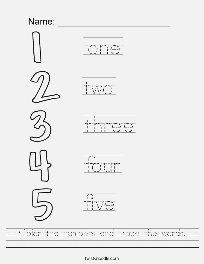 Color the Numbers and Trace the Words Worksheet Twisty