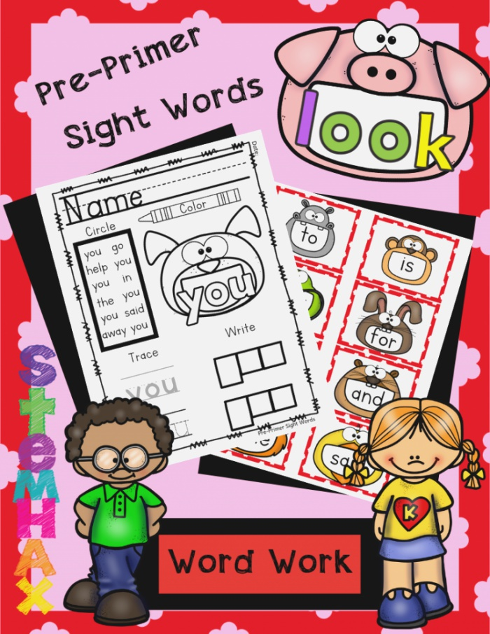 Cool Pre Primer Dolch Sight Word Work and Flash Cards for