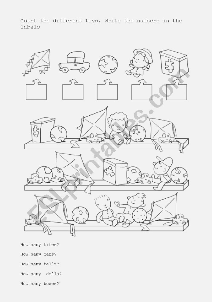 Count the Different toys Esl Worksheet by Fvalzania
