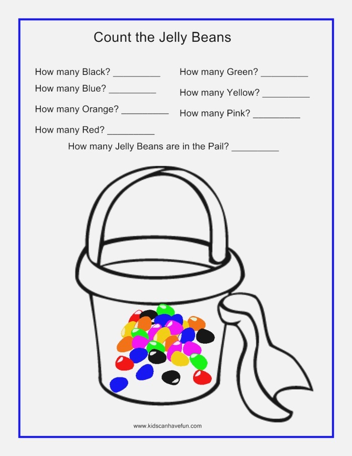 Count the Jelly Beans In the Sand Pail Worksheet
