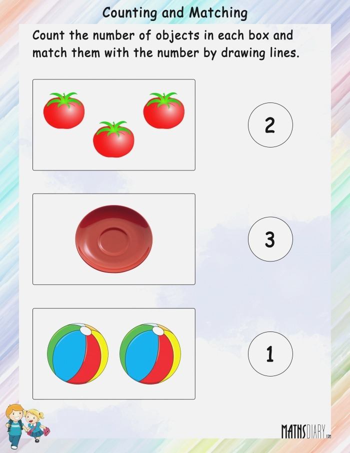 Count the Objects and Match with the Numbers Math