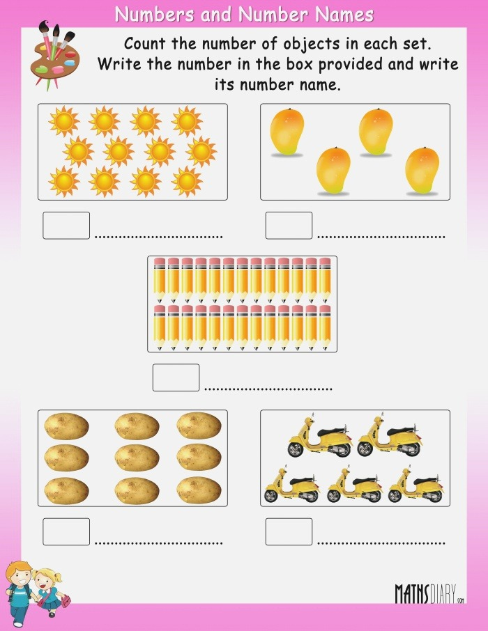Count the Objects In Each Set and Write Its Number and